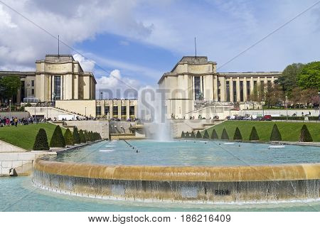 Fountain in front of the Palais de Chaillot. Paris France.