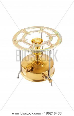 Primus Stove Single Burner Isolated On White Background. Kitchen Utensil For Camping