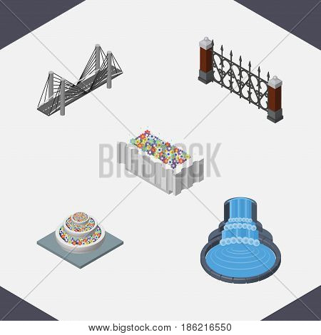Isometric Urban Set Of Fence, Garden Decor, Plants And Other Vector Objects. Also Includes Bridge, Fountain, Hedge Elements.
