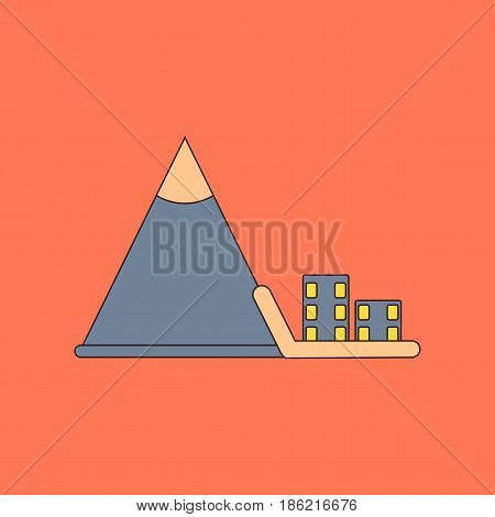 flat icon on stylish background Mountain avalanche house