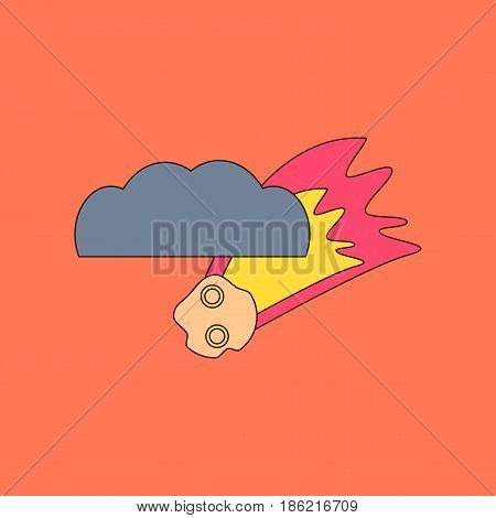 flat icon on stylish background falling meteorite