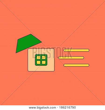 flat icon on stylish background wind destroys house