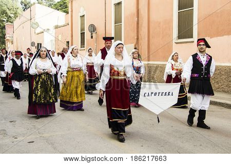 CAGLIARI, ITALY - MAY 1, 2013: 357 Religious procession of Sant'Efisio - parade of the folk group of Capoterra - Sardinia