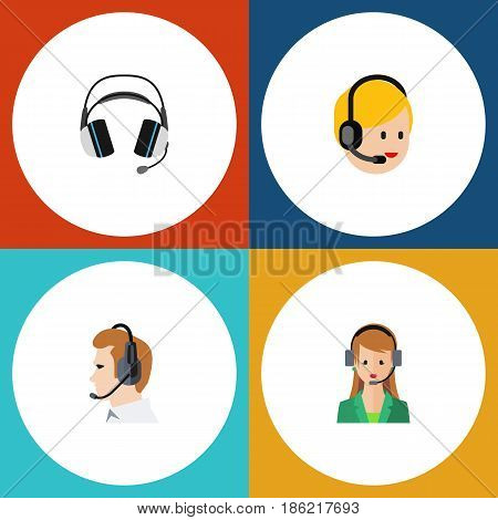 Flat Center Set Of Telemarketing, Secretary, Call Center And Other Vector Objects. Also Includes Secretary, Earphone, Headset Elements.