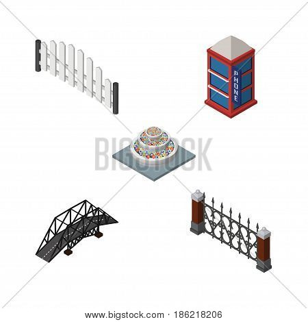 Isometric Architecture Set Of Fence, Barricade, Plants And Other Vector Objects. Also Includes Decoration, Bridge, Barricade Elements.