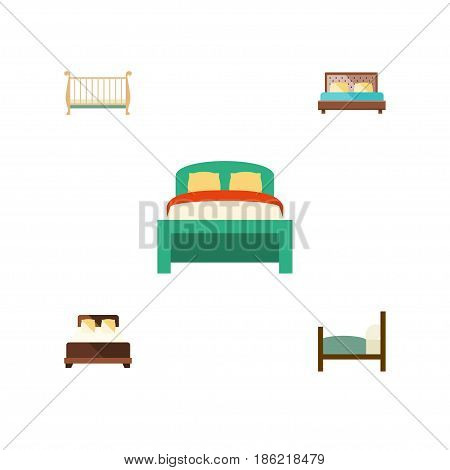 Flat  Set Of Hostel, Mattress, Bed And Other Vector Objects. Also Includes Double, Furniture, Mattress Elements.