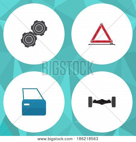 Flat Auto Set Of Suspension, Belt, Automobile Part And Other Vector Objects. Also Includes Suspension, Axis, Car Elements.