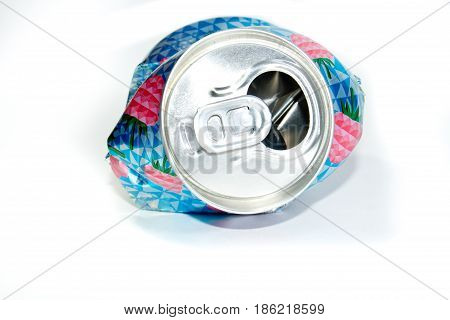 Crumpled Empty Bank  Soda Or Beer For Garbage, On A White Background. Crumpled Aluminum Jar .