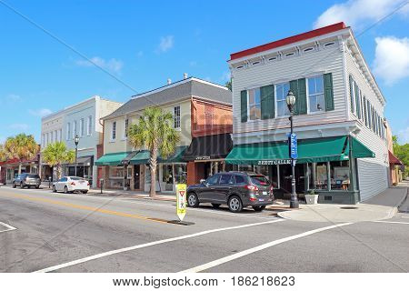BEAUFORT SOUTH CAROLINA - APRIL 17 2017: Businesses on Bay Street near the waterfront in the historic district of downtown Beaufort the second-oldest city in South Carolina.