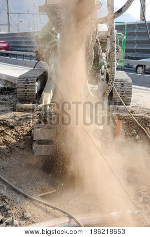 Drilling Pile Foundation At A Construction Of A Highway