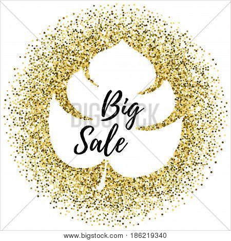 Summer sale Vector background for banner, poster, flyer, card Golden spangles are scattering on a white background in the shape of a palm leaf The inscription Big sale in the silhouette of a palm leaf