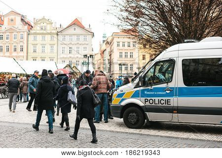 Prague, Czech Republic - December 24, 2016: the police checks the documents. Strengthening of security measures during public holidays.