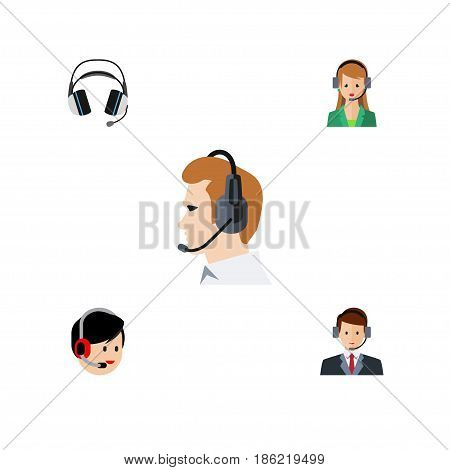 Flat Center Set Of Telemarketing, Hotline, Operator And Other Vector Objects. Also Includes Headphone, Headset, Support Elements.