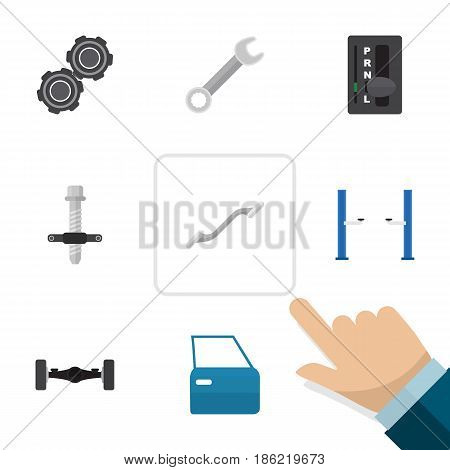 Flat Service Set Of Belt, Auto Jack, Suspension And Other Vector Objects. Also Includes Spanner, Pulley, Coupler Elements.