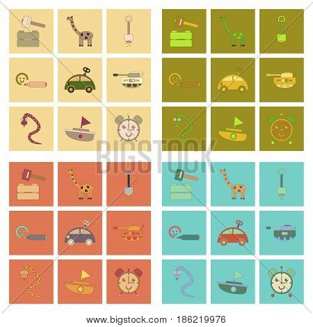 assembly of flat icons activity Kids toys