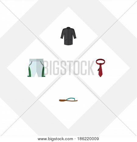 Flat Clothes Set Of Cravat, Beach Sandal, Trunks Cloth Vector Objects. Also Includes Kimono, Sandal, Flop Elements.