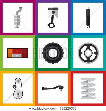 Flat Component Set Of Combustion, Wheel, Conrod And Other Vector Objects. Also Includes Wheel, Combustion, Headlight Elements.