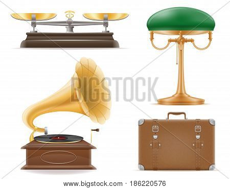 domestic appliances old retro vintage set icons stock vector illustration isolated on white background