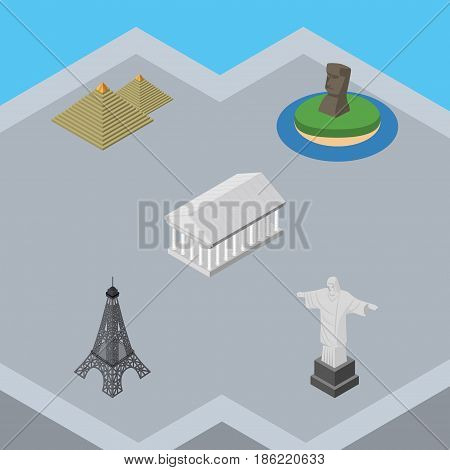 Isometric Architecture Set Of Chile, Egypt, Paris And Other Vector Objects. Also Includes Egypt, Chile, Monument Elements.
