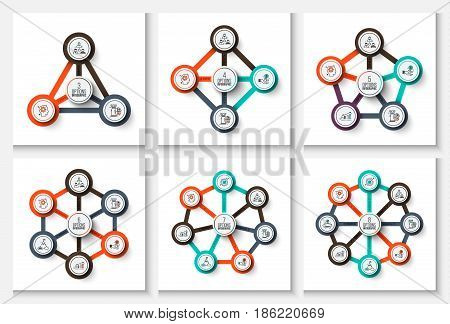 Business data visualization. Abstract flat elements of cycle diagram with 3, 4, 5, 6, 7 and 8 steps, options, parts or processes. Vector business template for presentation. Creative concept for infographic. Process chart.