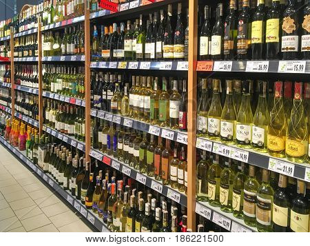 Gorlice Poland - May 13 2017: Different kinds of wine offered for sale in Kaufland Supermarket. Kaufland is a German hypermarket chain part of the Schwarz Gruppe
