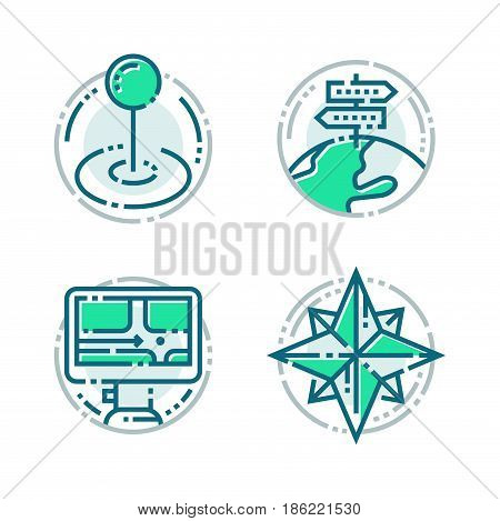 Navigation direction maps sign traffic and more thin line icons set vector illustration. Navigator gps location arrow business technology and modern way cartography transportation travel design.