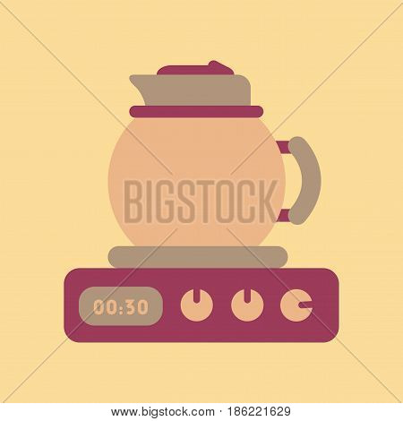 flat icon on stylish background coffee kettle stove