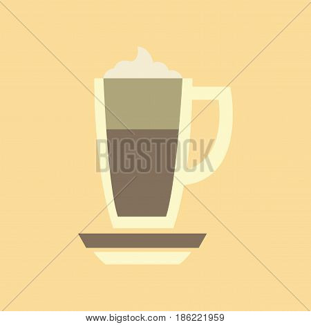 flat icon on stylish background coffee cup of latte
