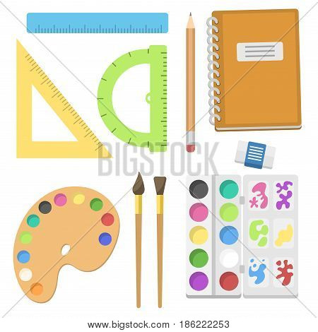 School supplies children stationary educational accessory student notebook vector illustration. Mathematics learning teaching art. Science university graduation symbols.