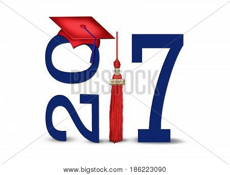 red 2017 graduation cap and tassel with dark blue numbers isolated on white