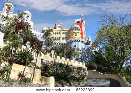 SINTRA - APRIL 07: Pena palace in the municipality of Sintra Portugal most beautiful castles of Europe April 07 2017 in Sintra Portugal