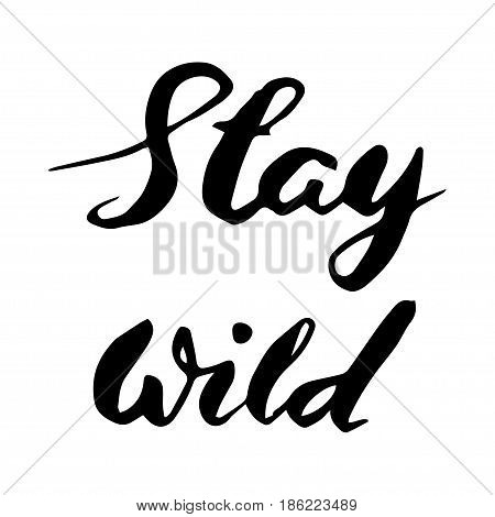 Stay wild hand written lettering for greeting card tee print banner poster. Typography poster. Modern Brush style. Vector illustration.