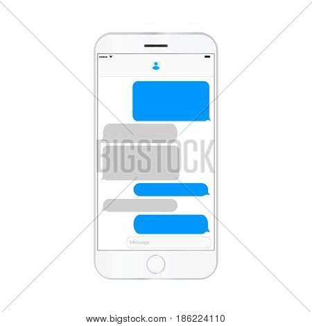 mobile phone  screen messaging text boxes empty bubles anonymous chat design on smartphone  screen