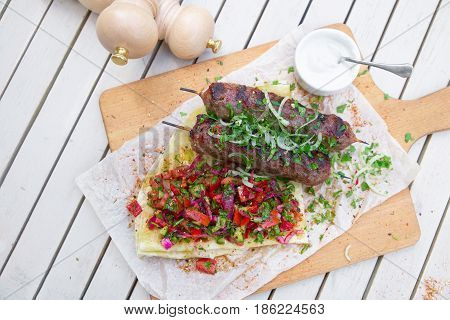 Kebab .traditional Oriental Meat Kebab Of Minced Beef Or Lamb With Vegetables And Herbs Overhead Mar