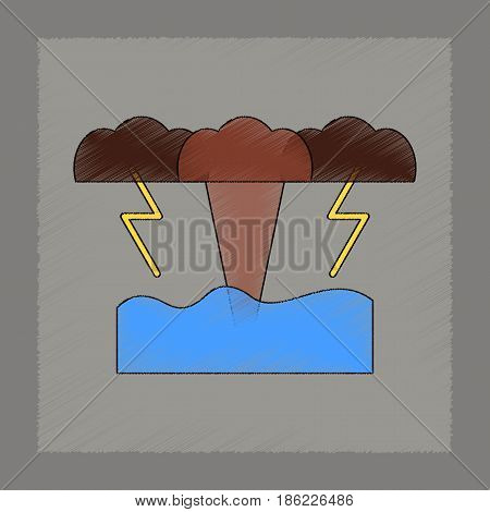 flat shading style icon of nature tsunami