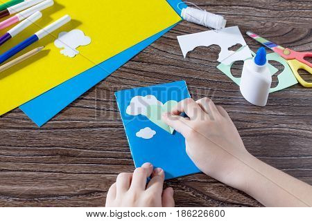 The Child Glues Together The Details. The Child Creates A Note Pad Handmade Applique Decorated Ballo