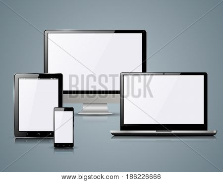 Monitor, notebook, smartphone, tablet icon Abstract infographics Abstract illustration