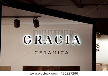 Moscow, Russia - March, 2017: Gracia ceramica company logo on the wall.