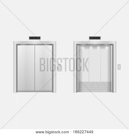 Open and closed modern chrome metal elevator doors. Vector illustration.