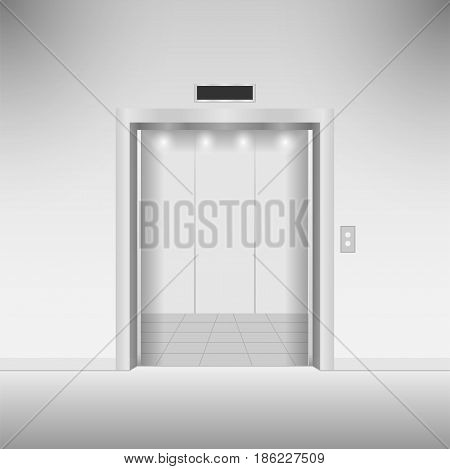Open chrome metal elevator doors. Vector illustration.