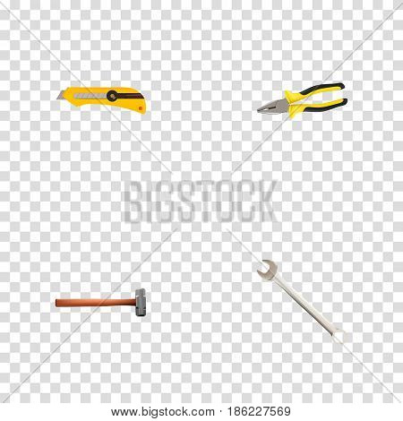 Realistic Pliers, Stationery Knife, Handle Hit Vector Elements. Set Of Instruments Realistic Symbols Also Includes Stationery, Pincers, Spanner Objects.