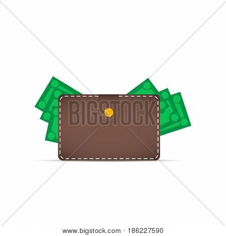 Brown wallet with money. Dollars stick out of the wallet.