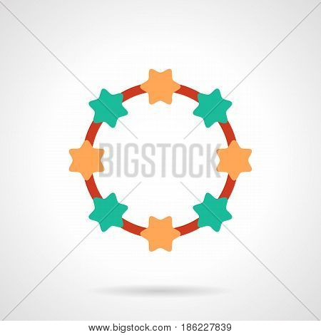 Symbol of bracelet or necklace. Green and orange star-shaped beads on red lace. Flat color style vector icon.