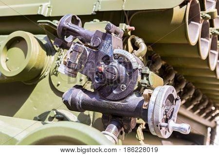 Samara Russia - May 1 2017: Aiming device BM-21 Grad mechanical panoramic sight