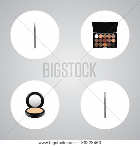 Realistic Multicolored Palette, Brow Makeup Tool, Cosmetic Stick And Other Vector Elements. Set Of Maquillage Realistic Symbols Also Includes Brow, Makeup, Blending Objects.