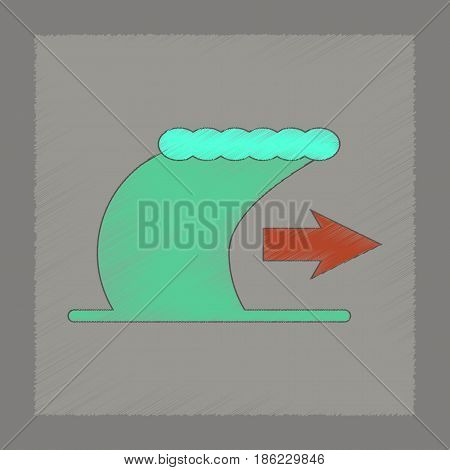 flat shading style icon of tsunami movement
