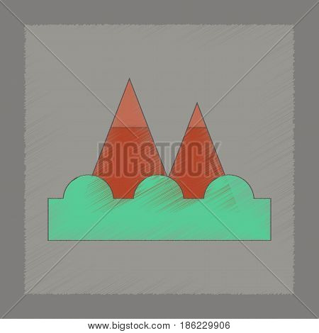 flat shading style icon of tsunami mountains