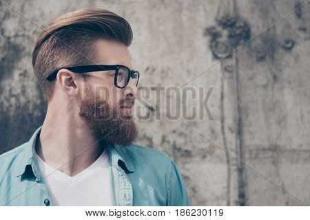 Profile Portrait Of Stylish Hot Bearded Nerdy In Casual Outfit Outside. So Harsh And Virile
