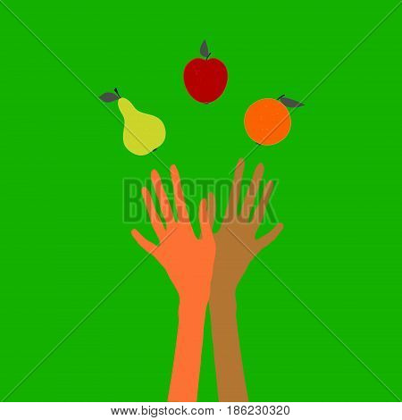 Color vector illustration on the theme of healthy eating. Promotes lightness slimness beauty.