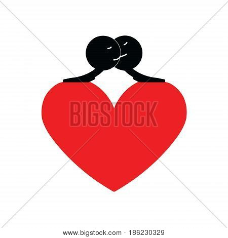 Heart clasp. Kissing men. Cute funny vector illustration with love theme.